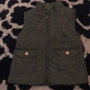 Olive Zip Up Vest for Girls